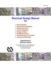 electrical design manual for new hospitals veterans health