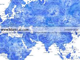 Printable World Map Personalized World Map Printable Art In Blue Watercolor Effect