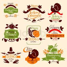 happy thanksgiving day celebration emblems for greeting card