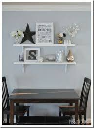 DIY Hardware Store Decor Projects Buffet Shelves And Bakers Rack - Floating shelves in dining room