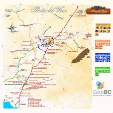 Map A Route by Map Of Wine Route Mapa Ruta Del Vino North Of Ensenada In