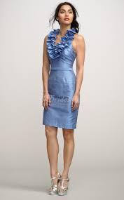 sheath column halter taffeta short mini sky blue bridesmaid