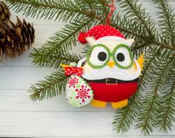 santa ornament tree decor felt owl bauble