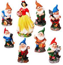 poly resin creative garden gnome seven dwarfs and snow white