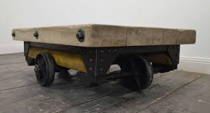 vintage riveted industrial wood and metal coffee table for sale at