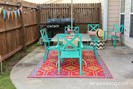 Turquoise Patio Furniture by Ten June Colorful Outdoor Patio Makeover Reveal