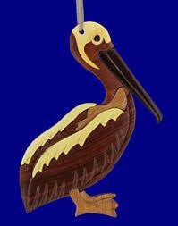intarsia wood pelican ornament