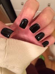 simple black gel nails short and square perf nails