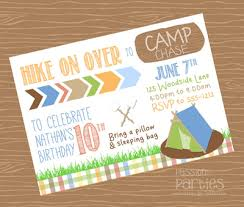 Backyard Birthday Party Invitations Campout Party