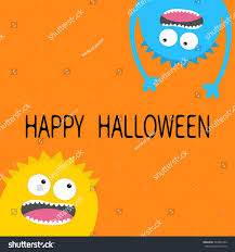 happy halloween card screaming monster head stock vector 704352739 happy halloween card screaming monster head silhouette set two eyes teeth tongue