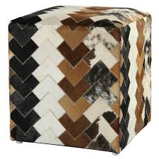 brown leather arrow hide pouf ottoman free shipping today