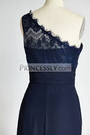 navy blue lace bridesmaid dress one shoulder navy blue lace chiffon wedding bridesmaid dress