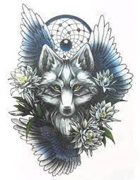 znalezione obrazy dla zapytania wolf with dreamcatcher