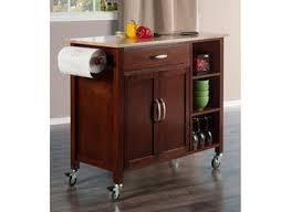 baxton studio lancashire brown wood metal kitchen cart saffronia