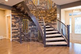 curved staircase modern u2014 railing stairs and kitchen design