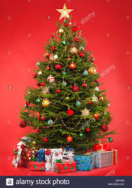 beautiful decorated christmas tree with colorful wrapped gifts