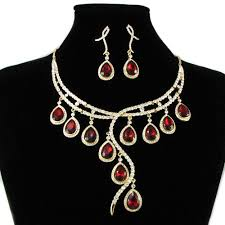 diamond necklace red images Red diamond zircon necklace earrings chain sets prom cocktail deep jpg