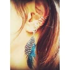 pics of ear cuffs cuff non pierced ears with feathers