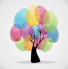 diversity color tree finger prints illustration background set
