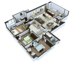Building Plans For 3 Bedroom House 20 Designs Ideas For 3d Apartment Or One Storey Three Bedroom