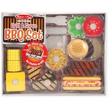 doug melissa u0026 doug grill and serve bbq set 20 pcs wooden play food