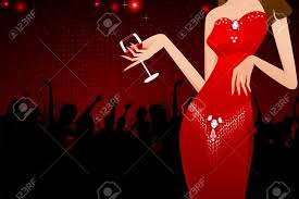 illustration of lady holding glass of drink in party background