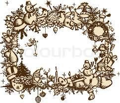christmas frame sketch drawing for your design stock vector
