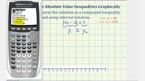 ex solve absolute value inequalities on the graphing calculator you