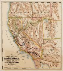 Union Pacific Railroad Map 1875 F T Newberry Map Of The Southern Pacific Rail Road And