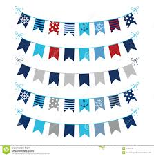 nautical buntings in blue red and grey stock vector image 91851182