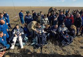 soyuz makes pinpoint landing in kazakhstan with crew of three