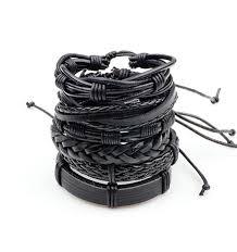black bracelet men images 1set 6pcs black leather bracelet men multilayer braid bracelets jpg