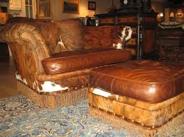 Leather Animal Ottoman by Custom Made Hair Hide And Twisted Leather Fringe Chair And A Half