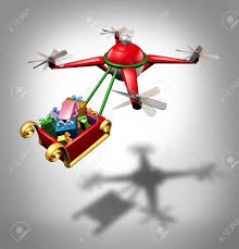 presents delivery drone gifts delivery as a christmas sled concept