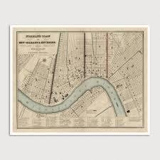 Map New Orleans New Orleans Antique Map Art Print 1845 U2013 Blue Monocle