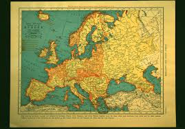 Ww2 Europe Map Vintage World War Ii Europe Map Mediterranean 1940s Orig 1940