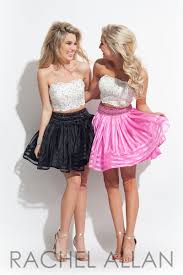 2 pieces short prom dresses white black and fushia prom gowns 2017