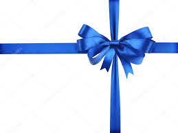 white and blue ribbon blue ribbon with a bow as a gift on a white background stock