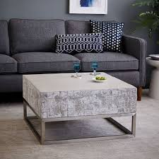 Cement Coffee Table Concrete Chrome Coffee Table West Elm
