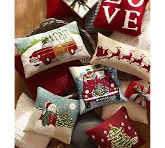 Decorative Christmas Pillows by Sleigh Bell Crewel Embroidered Lumbar Pillow Pottery Barn