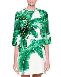 dolce u0026 gabbana leaf print jacket w bee embroidery u0026 sleeveless