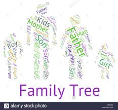 family tree meaning word hereditary and parents stock photo