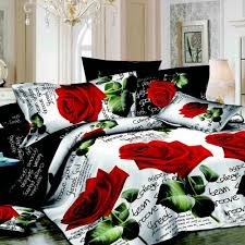 Printed Duvet Covers 4pcs 3d Printed Bedding Set Bedclothes Red Rose In Full Bloom