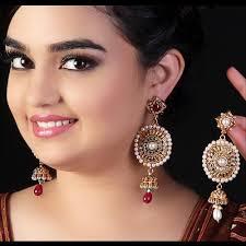 big ear rings dazzling pink indian wedding earrings kaneesha