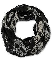 flower gem skull print black u0026 white infinity scarf