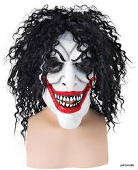 clown mask with teeth and black hair
