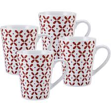 pfaltzgraff 27 oz jumbo red petals coffee mug set of 4 walmart com