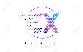 ex e x pink magenta dotted bubble letter logo design dots