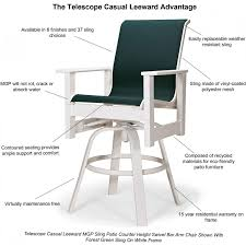 Telescope Furniture Replacement Slings by Leeward Mgp Outdoor Counter Height Swivel Bar Stool With Sling