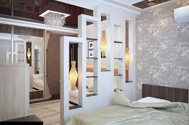 wohn schlafzimmer einrichtungsideen raumteiler schlafzimmer ideen regalwand pendelleuchten design